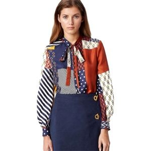 Tory Burch Vivian Pussy Bow Silk Patchwork Blouse